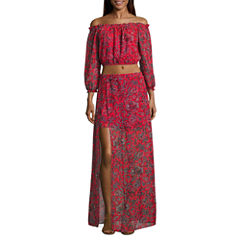Speechless Long Sleeve Floral Maxi Dress-Juniors