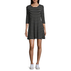 Arizona 3/4 Sleeve Stripe Swing Dresses-Juniors