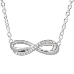 Hallmark Womens White Cubic Zirconia Sterling Silver Pendant Necklace