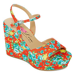 First Love Neat Floral Print Wedges