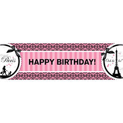 Paris Damask Birthday Banner