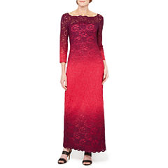 Onyx Nites 3/4 Sleeve Ombre Lace Gown