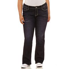 Arizona Boyfriend Fit Bootcut Jeans-Juniors Plus