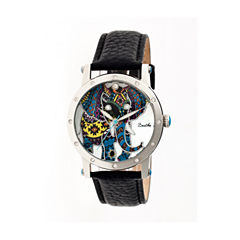Bertha Womens Betsy Mother-Of-Pearl Black Leather-Band Watchbthbr5701