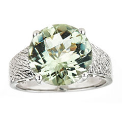 LIMITED QUANTITIES Round Green Quartz Sterling Silver Ring