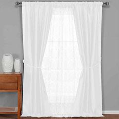 Duck River Textiles Worthington Faux Silk and Sheer 5-Piece Window Set In Garnet