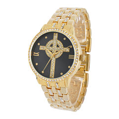 Personalized Crystal-Accent Gold-Tone Celtic Cross Watch