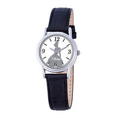 Disney Cinderella Womens Black Leather Strap Watch