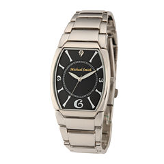 Personalized Dial Mens Diamond-Accent Silver-Tone Watch