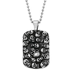Mens Stainless Steel & Black IP Skull Dog Tag Pendant Necklace