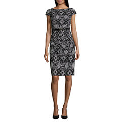 Alyx Cap Sleeve Diamond Sheath Dress