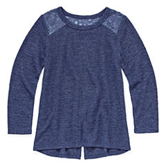 Arizona Long Sleeve Lace Shoulder Top - Preschool Girls
