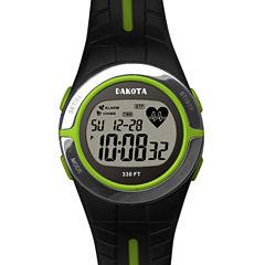 Dakota Black and Lime Green Heart Rate Monitor Watch 36910
