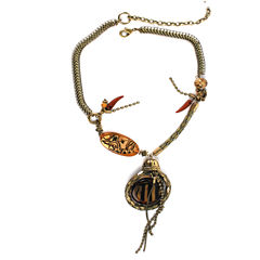 Aris by Treska Brown and Gold-Tone Snake Chain Pendant Necklace
