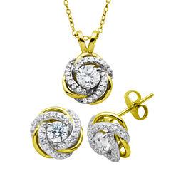 Diamonart Cubic Zirconia 18K Gold Over Silver Jewelry Set