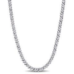 Womens 17 Inch 1 CT. T.W. White Diamond Tennis Necklaces