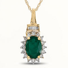 Womens 1/5 CT. T.W. Green Emerald 10K Gold Pendant Necklace