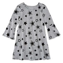 Okie Dokie Bell Sleeve Star A-Line Dress - Preschool Girls
