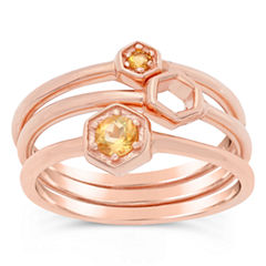 Womens Genuine Round Yellow Citrine 18K Stackable Ring