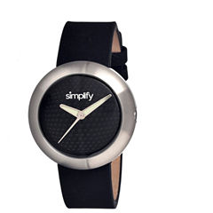 Simplify Unisex The 1200 Black Leather-Band Watch Sim1202