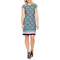 Liz Claiborne Short Sleeve Pattern Shift Dress