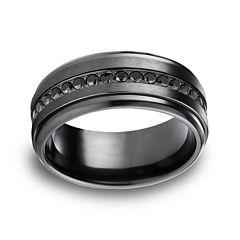 Mens Comfort Fit 9mm Black Titanium and Cubic Zirconia Wedding Band