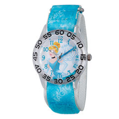 Disney Princess Girls Blue and Silver Tone Cinderella Time Teacher Strap Watch W002934