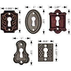 Tim Holtz® 5-pk.Keyholes with Fasteners – Antique Nickel, Brass & Copper