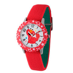 Sesame Street Red And Green Elmo Hearts Time Teacher Strap Watch W003169