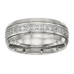 Mens Cubic Zirconia Stainless Steel Wedding Band