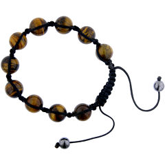 Mens Shamballa Tiger's Eye Bead Bracelet