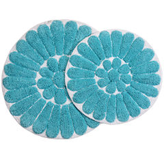 Chesapeake Merchandising Bursting Flower 2-pc. Round Bath Rug Set
