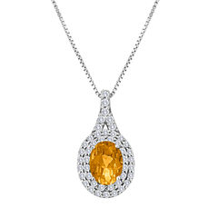Womens Yellow Citrine Sterling Silver Pendant Necklace