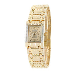 Personalized Dial Womens Diamond-Accent Square Gold-Tone Bracelet Watch