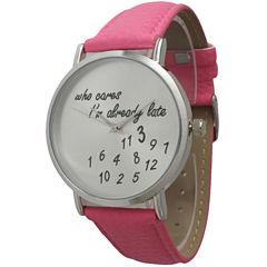 Olivia Pratt Womens Silver-Tone Pink Leather Strap Watch 13569