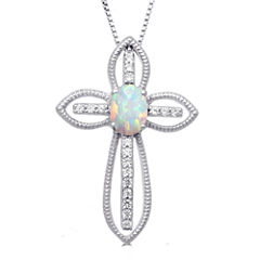 Womens Lab-Created Opal Sterling Silver Pendant Necklace