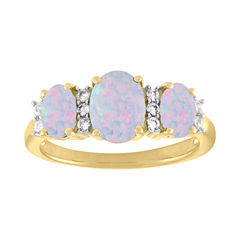 Womens Lab-Created White Opal & Lab-Created White Sapphire 14K Gold Over Silver Cocktail Ring