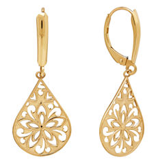 Infinite Gold™ 14K Yellow Gold Flower Teardrop Earrings