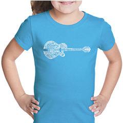 Los Angeles Pop Art Country Guitar Short Sleeve Graphic T-Shirt Girls