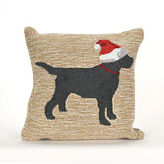 Liora Manne Frontporch Christmas Dog Square Outdoor Pillow