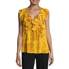 Worthington Sleeveless V Neck Georgette Floral Blouse