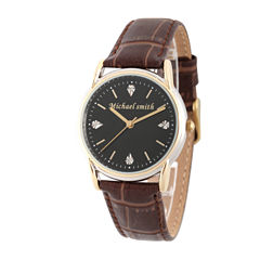 Personalized Mens Brown Leather 4 Diamond Strap Watch