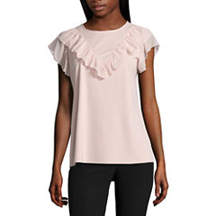 Worthington Short Sleeve Ruffle Front Shirt