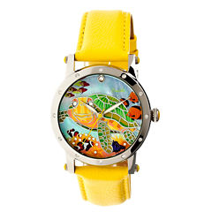 Bertha Womens Chelsea Mother-Of-Pearl Yellow Leather-Band Watchbthbr4902