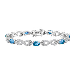Womens Genuine Blue Topaz Sterling Silver 7 1/2 Inch Chain Bracelet
