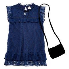 Arizona SS High Neck Lace Top w/ Purse - Girls' 7-16 & Plus