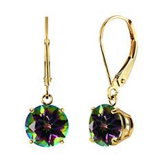 Genuine Mystic Topaz 10k Yellow Gold Leverback Dangle Earrings