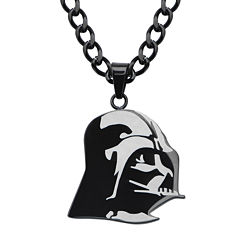 Star Wars® Darth Vader Mens Stainless Steel & Black IP Etched Pendant Necklace