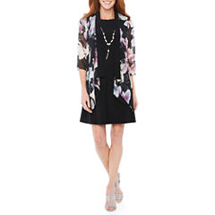 Tiana B 3/4 Sleeve Jacket Dress-Petites