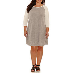 Boutique + 3/4 Sleeve Swing Dresses-Plus